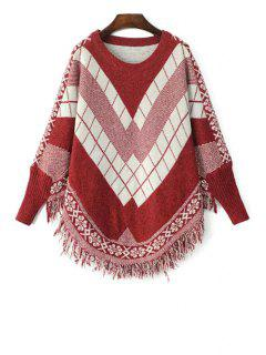 Long Sleeves Argyle Pattern Sweater - Red