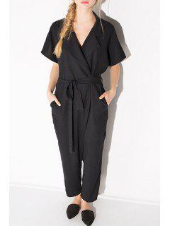 Solid Color Tie-Up Short Sleeve Jumpsuit - Black M