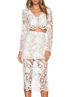 Openwork Lace Hook Crop Top And High-Waisted Skirt Suit - White L