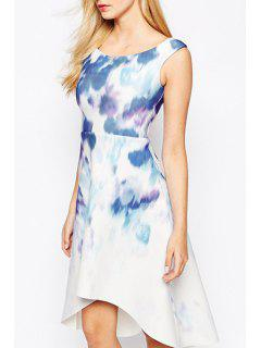 Scoop Neck Tie Dye High Low Sleeveless Dress - White L