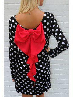 Long Sleeve Polka Dot Bowknot Dress - White And Black S