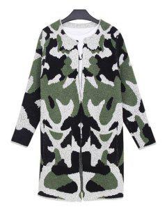Camouflage Pattern Big Pocket Long Cadigan - Army Green