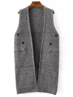 Solid Color Button Embellished Sleeveless Waistcoat - Gray