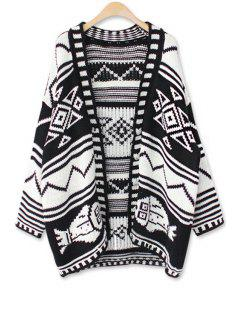 Open Front Geometric Pattern Cardigan - Black
