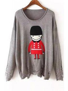 Scoop Neck Red Soldier Pattern Long Sleeve Sweater - Gray