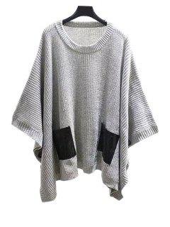 Scoop Neck Batwing Long Sleeve Sweater - Gray