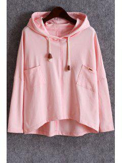 Pockets Slouchy Pullover Hoodie - Pink