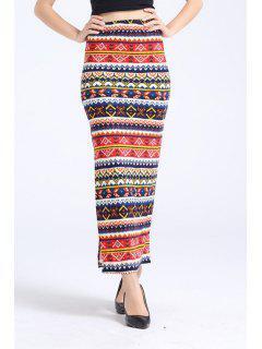 Side Slit Ethnic Print Long Skirt