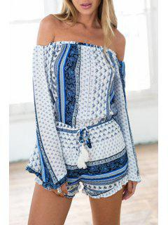 Slash Neck Tiny Floral Tie-Up Romper - Blue And White M