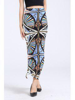 Abstract Print Side Slit Long Skirt