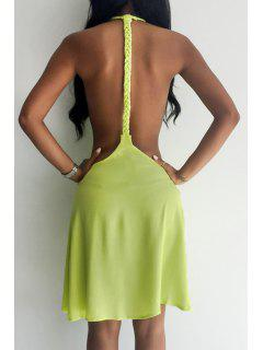 Backless Solid Color Flare Dress - Yellow L