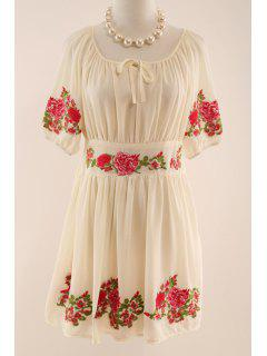 Half Sleeve Flower Embroidered Dress - Apricot L