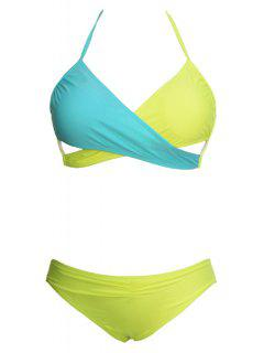 Ombre Sexy Halter Bikini Set - Yellow S