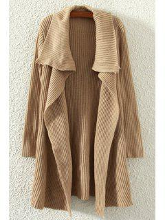 Pure Color Turn Down Neck Long Sleeve Cardigan - Brown