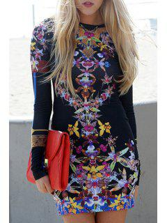 Floral Round Neck Long Sleeve Bodycon Dress - Black M