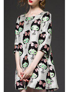 3/4 Sleeve Cartoon Pattern Jacquard Dress - Xl