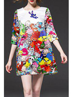 Half Sleeve Colorful A-Line Dress - White S
