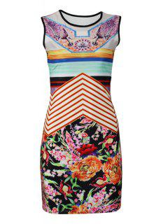Flower Print Round Collar Sleeveless Dress - S