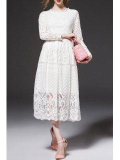 Openwork Lace Hook Midi Dress - White Xl