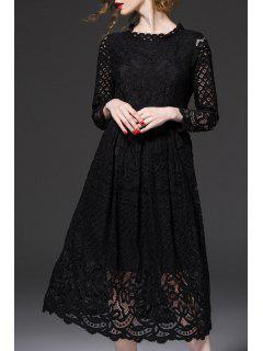 Openwork Lace Hook Midi Dress - Black 2xl