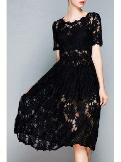 Openwork Lace Hook Black Dress - Black S