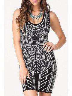 Black White Geometric Print Sleeveless Dress - Black