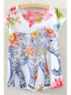 Elephant Pattern Short Sleeve T-Shirt - White