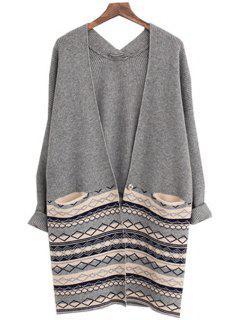 Argyle Pattern Long Sleeves Cardigan - Gray