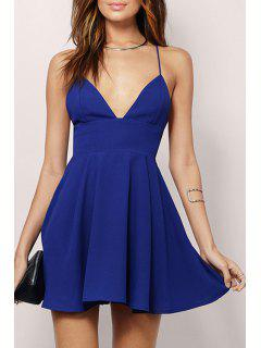 Spaghetti Strap Backless A-Line Dress - Blue S