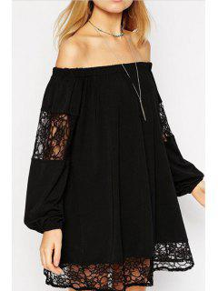 Lace Spliced Slash Collar Long Sleeve Dress - Black Xl