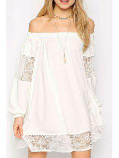 Lace Spliced Slash Collar Long Sleeve Dress - White Xl
