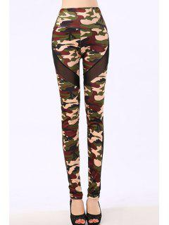 Camo Voile Splicing Narrow Feet Leggings - Army Green