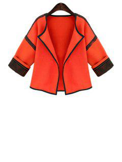 Color Block Turn Down Collar 3/4 Sleeve Coat - Orange L