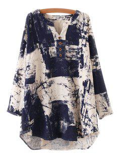 Long Sleeve Ink Painting Print Dress - Purplish Blue