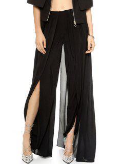 Solid Color High Slit Elastic Waist Pants - Black Xl