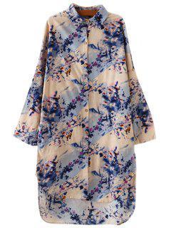 Shirt Collar Floral Print Dress - Blue