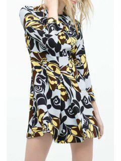 Flower Print Round Neck Long Sleeve Dress - L