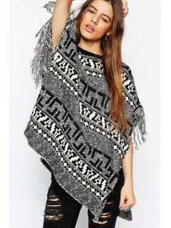 Black White Geometric Pattern Short Sleeve Sweater - Black