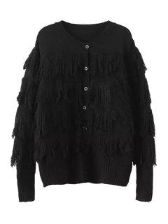 Tassels Spliced Long Sleeve Cardigan - Black