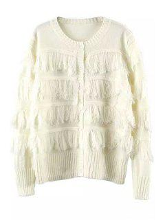 Tassels Spliced Long Sleeve Cardigan - White
