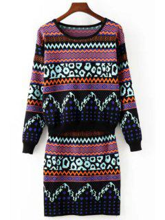 Zig Zag Long Sleeve Sweater And Knit Skirt Suit