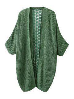 Lace Spliced 3/4 Sleeves Cardigan - Green M