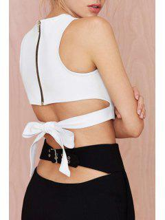 Back Tie Knot Sleeveless Crop Top - White S