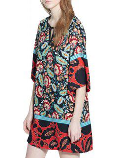 Floral Print Round Collar Half Sleeves Straight Dress - Red L