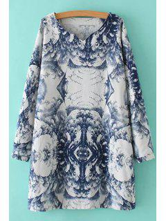 Abstract Print V Neck Long Sleeve Dress - 2xl