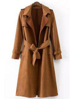 Faux Leather Lapel Long Sleeve Coat - Brown M