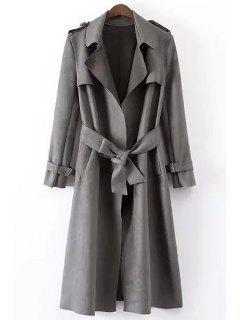 Faux Leather Lapel Long Sleeve Coat - Gray L
