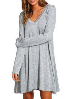 Gray V Neck Long Sleeve Dress - Gray L