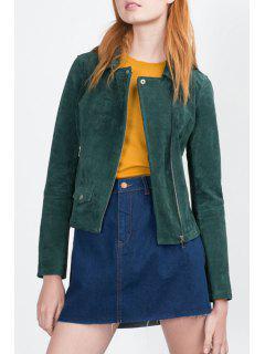 Zip Pocket Suede Coat - Green M
