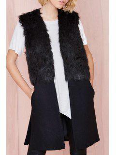 Faux Fur Spliced Side Slit Waistcoat - Black M